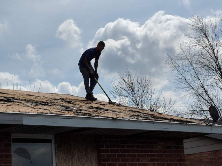 scraping shingles off roof