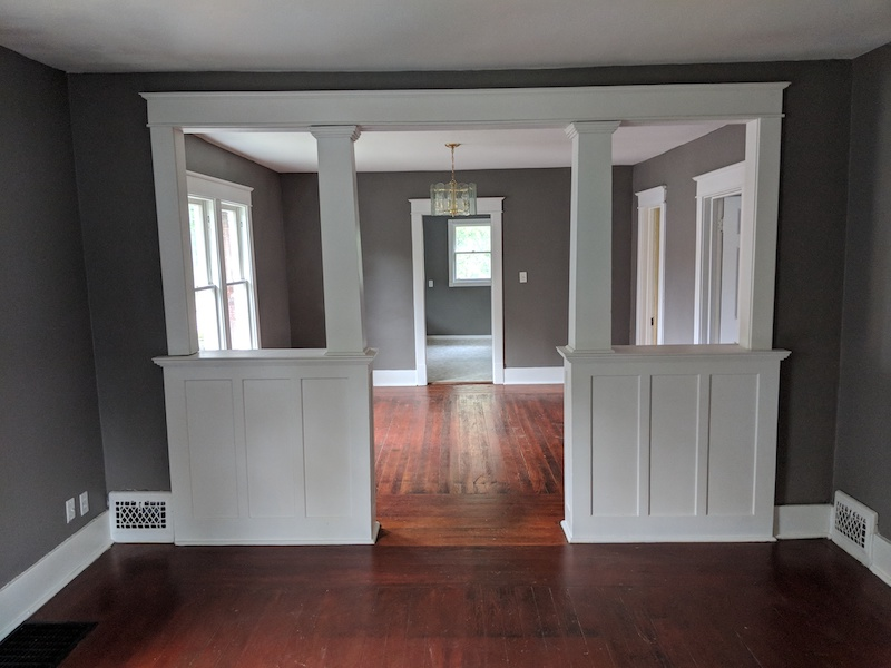 home archway with solid hardwood floors