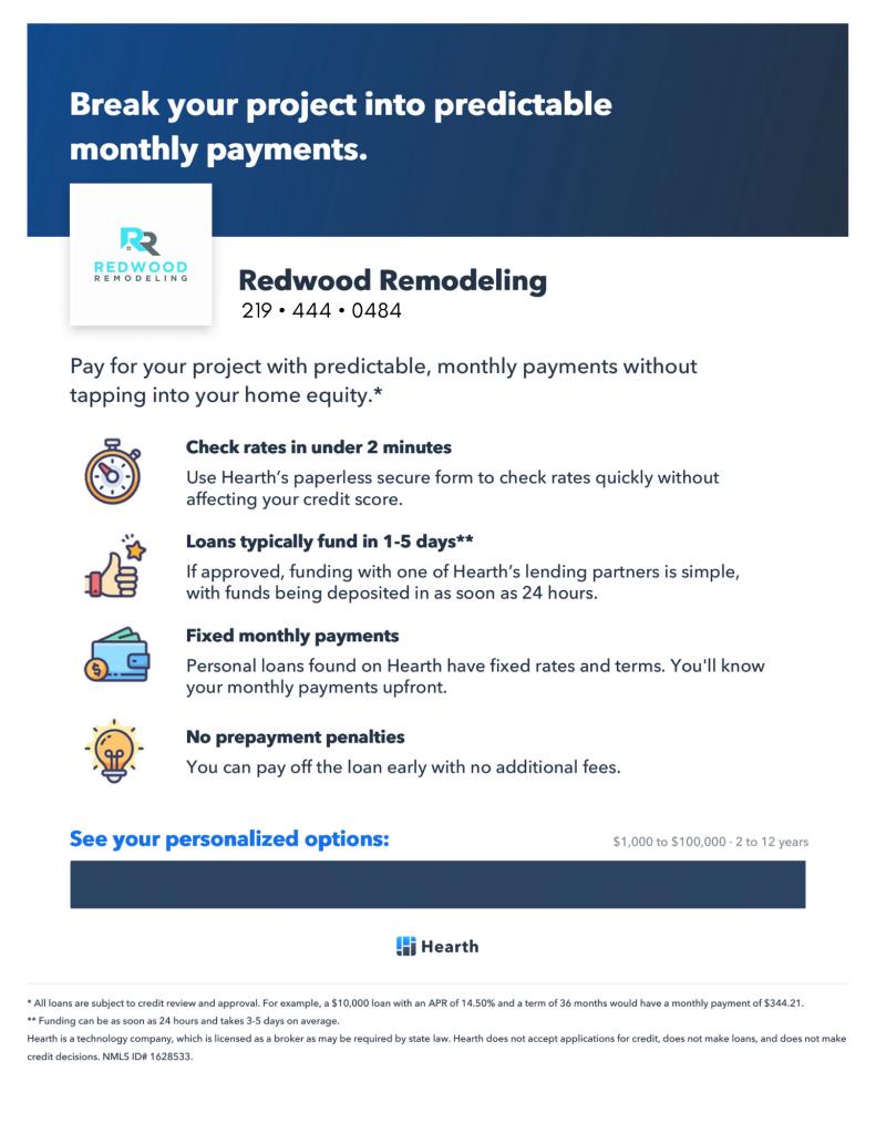 Redwood Remodeling Financing Benefits